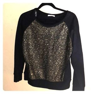 NWT black and gold long sleeve top size large